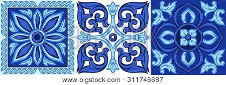 Italian Ceramic Tile Pattern. Ethnic Folk Ornament. Mexican Talavera, Portuguese Azulejo Or Spanish