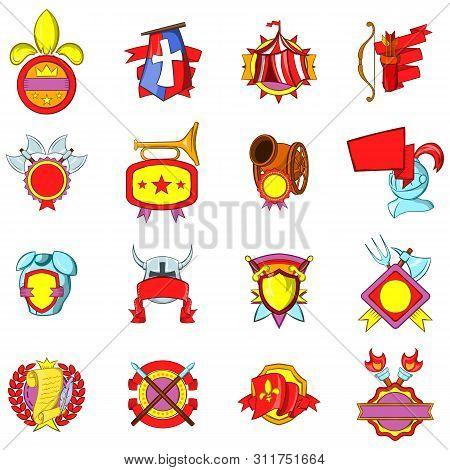 Mediaeval Icons Set. Cartoon Set Of 16 Mediaeval Vector Icons For Web Isolated On White Background