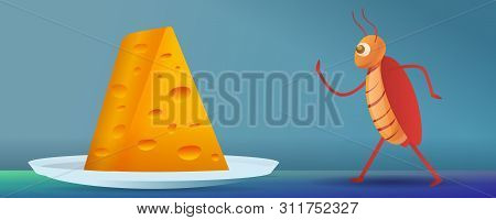 Cockroach Going To Cheese Piece Concept Banner. Cartoon Illustration Of Cockroach Going To Cheese Pi