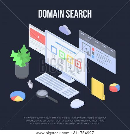 Domain Search Concept Banner. Isometric Illustration Of Domain Search Vector Concept Banner For Web
