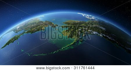 Highly Detailed Planet Earth With Exaggerated Relief Illuminated By The Evening Sun. Chukotka, Alask