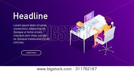 Isometric Concept Of Writing Research Work, Studying, Landing Page Design. Woman Studying Using Lapt