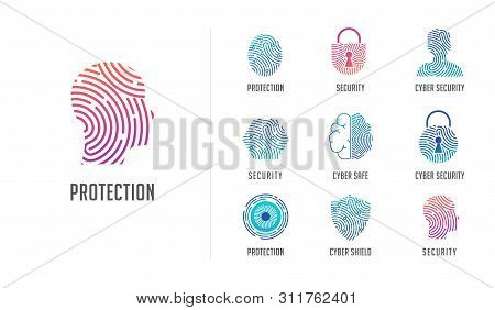 Fingerprint Scan Logo, Privacy, Cyber Security , Identity Information And Network Protection. Person