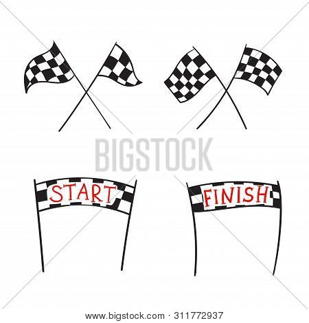 Vector Illustration Of Start And Finish Line Banners, Streamers, Arch Gate, Flags For Outdoor Sport