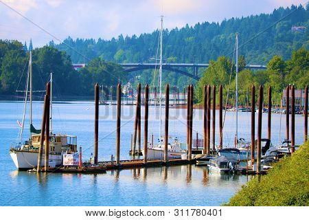 June 27, 2019 In Portland, Or:  Sail Boats And Yachts Docked At The Willamette River Marina In Portl