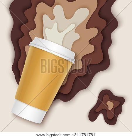 Coffee Cup With Papercut Coffee Splashes And Shadows. Spilled Coffee. Disposable Takeaway Paper Coff