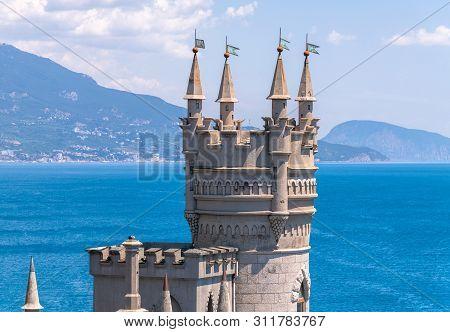 Castle Of Swallows Nest On The Black Sea Coast, Crimea. It Is A Famous Landmark Of Crimea.