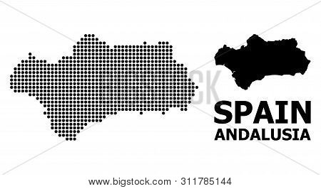 Dot Map Of Andalusia Province Composition And Solid Illustration. Vector Map Of Andalusia Province C