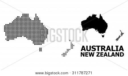 Dotted Map Of Australia And New Zealand Composition And Solid Illustration. Vector Map Of Australia