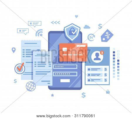 Online Payment Concept. Internet Payments, Data Protection, Money Transfer, Online Banking, Mobile W