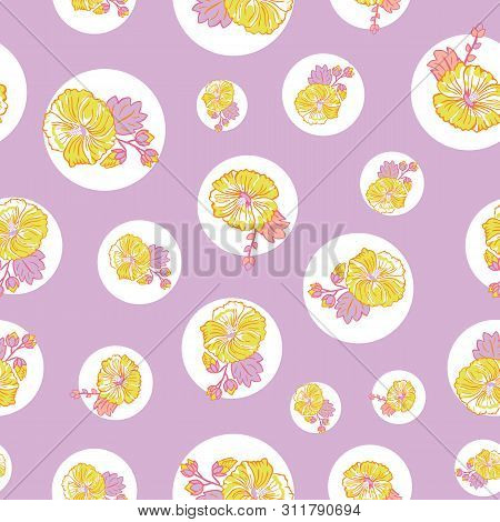 Blooming Yellow Purple Mallow Flowers On Dots Seamless Repeat Vector Pattern Background For Fabric,