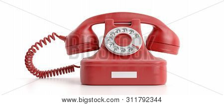 Red Old Telephone Isolated On White Background. 3D Illustration