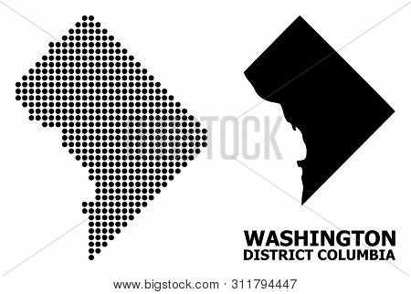 Dot Map Of District Columbia Composition And Solid Illustration. Vector Map Of District Columbia Com
