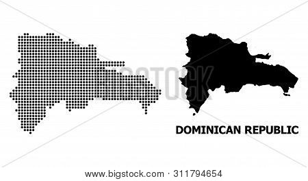 Dot Map Of Dominican Republic Composition And Solid Illustration. Vector Map Of Dominican Republic C
