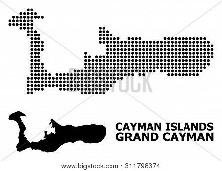 Pixelated Map Of Grand Cayman Island Collage And Solid Illustration. Vector Map Of Grand Cayman Isla