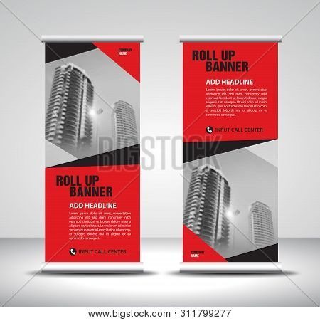 Red Roll Up Banner Template Vector, Banner, Stand, Exhibition Design, Advertisement, Pull Up, X-bann