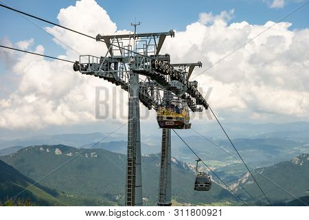 Vratna Dolina, Slovakia - July 26, 2016: The Cableway Connecting Vratna And Velky Krivan Peak In Tou