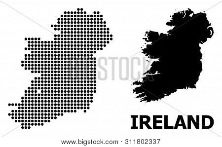 Pixel Map Of Ireland Island Composition And Solid Illustration. Vector Map Of Ireland Island Composi