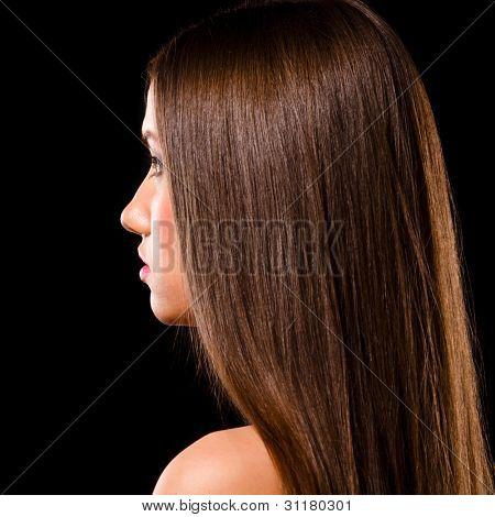 beautiful caucasian woman on black background