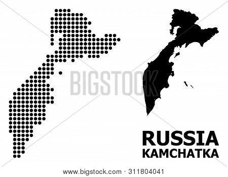 Pixel Map Of Kamchatka Peninsula Composition And Solid Illustration. Vector Map Of Kamchatka Peninsu