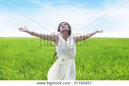 Beatiful Woman Enjoying Spring