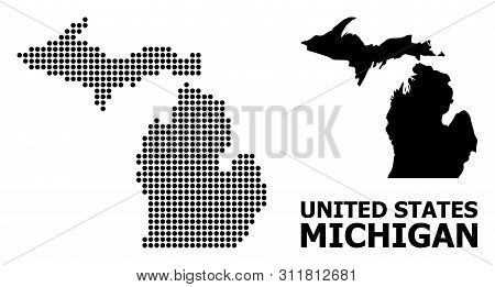 Pixelated Map Of Michigan State Composition And Solid Illustration. Vector Map Of Michigan State Com