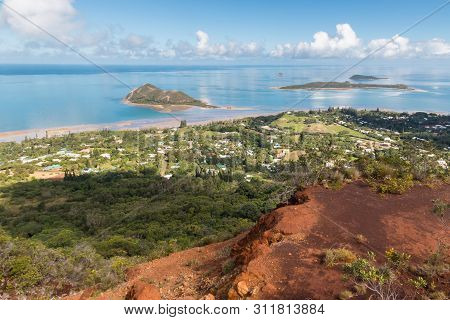 Aerial View Of New Caledonia Coastline With Ilot Charbon And Ile Bailly Islands From Mont-dore Mount