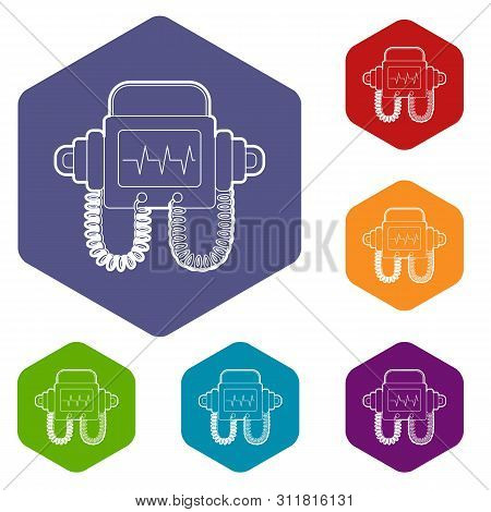 Defibrillator Icons Vector Colorful Hexahedron Set Collection Isolated On White