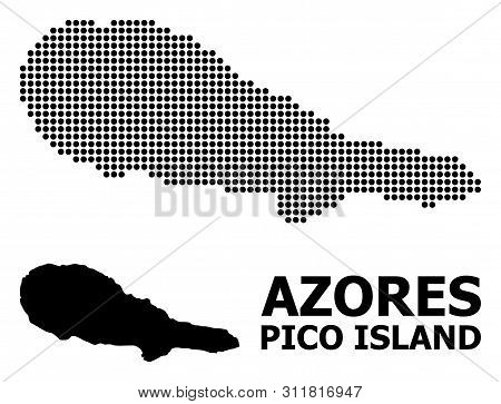 Pixel Map Of Pico Island Composition And Solid Illustration. Vector Map Of Pico Island Composition O
