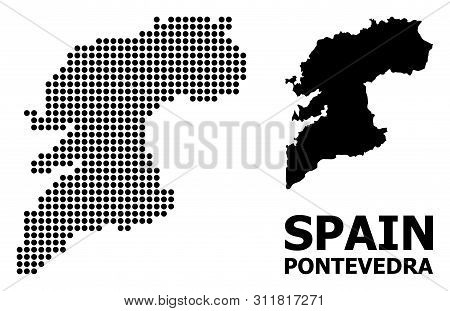 Dotted Map Of Pontevedra Province Composition And Solid Illustration. Vector Map Of Pontevedra Provi