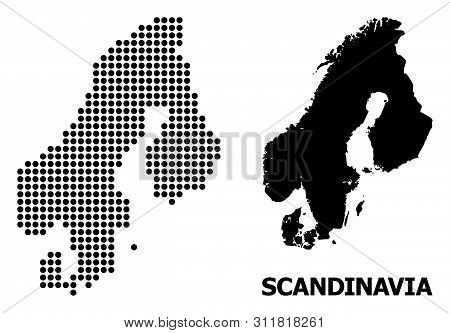 Dot Map Of Scandinavia Composition And Solid Illustration. Vector Map Of Scandinavia Composition Of
