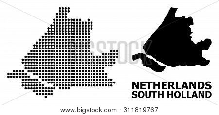 Pixelated Map Of South Holland Collage And Solid Illustration. Vector Map Of South Holland Compositi