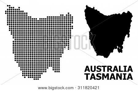 Dot Map Of Tasmania Island Composition And Solid Illustration. Vector Map Of Tasmania Island Composi
