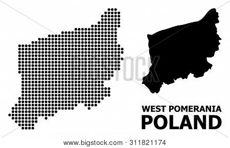 Dotted Map Of West Pomerania Province Composition And Solid Illustration. Vector Map Of West Pomeran