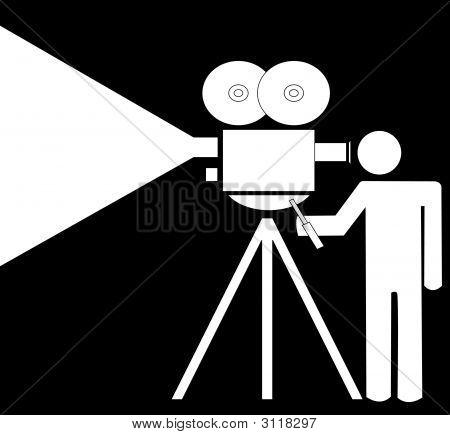 Stick Man W Movie Camera On Black