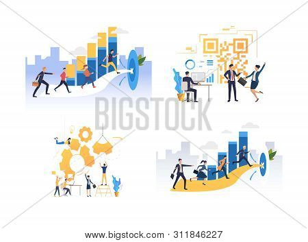 Set Of Business Teams Pursuing Work Aims. Group Of Men And Women Cooperating For Target. Business Co