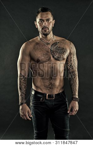 Brutal Strict Macho With Tattoos. Masculinity And Brutality. Tattoo Culture Concept. Tattoo Brutal A