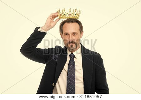 Man Nature Bearded Guy In Suit Hold Golden Crown Symbol Of Monarchy. Direct Line To Throne. Enormous