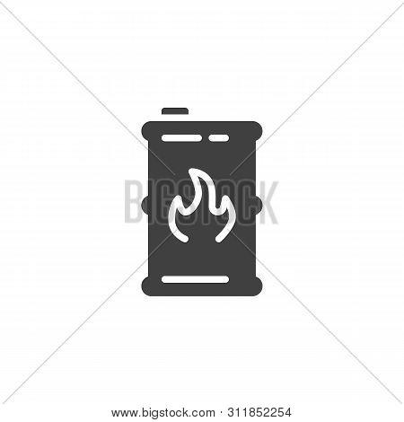 Fuel Barrel Vector Icon. Filled Flat Sign For Mobile Concept And Web Design. Kerosene Barrel Glyph I