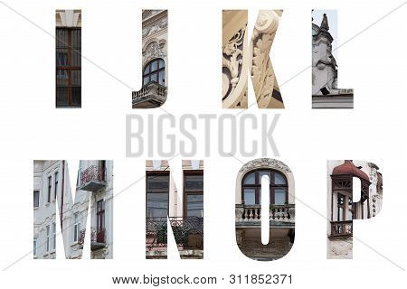 The Letters Of The Alphabet I,j,k,l,m,n,o,p And Decorated In The Form Of Ancient Architecture With E