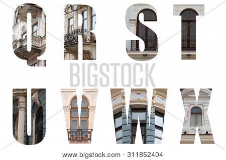 The Letters Of The Alphabet Q,r,s,t,u,v,w,x And Decorated In The Form Of Ancient Architecture With E