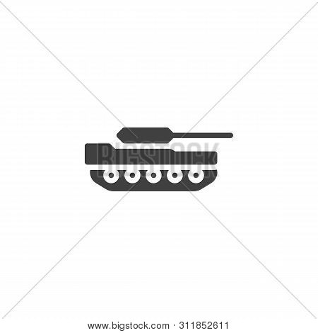 Military Tank Vector Icon. Filled Flat Sign For Mobile Concept And Web Design. Artillery Tank Glyph