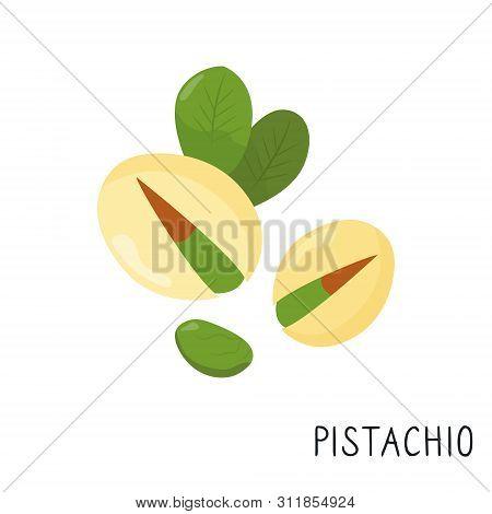 Cartoon Flat Pistachio Isolated On White Background