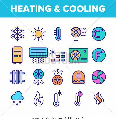 Color Heating And Cooling System Vector Linear Icons Set. Heating And Cooling Air Conditioning Outli