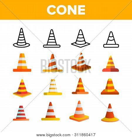 Traffic Orange Cones Vector Color Icons Set. Road Safety Plastic Cones Linear Symbols Pack. Under Co