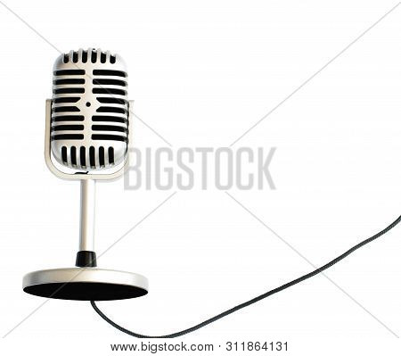 Vintage Or Retro Silver Microphone Isolated On White Background
