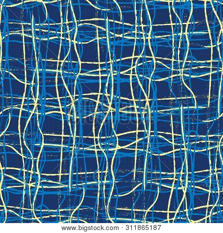 Yellow And Blue Hand Drawn Strands Of Fibre Lines In Grid Design. Seamless Geometric Vector Pattern