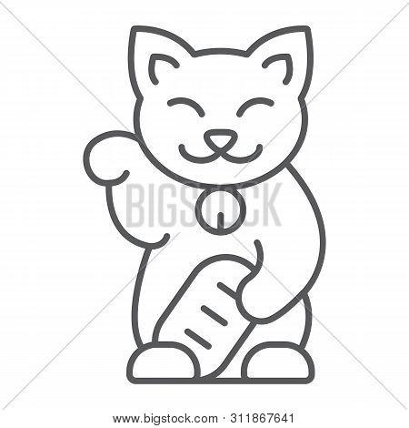Maneki Neko Thin Line Icon, Asian And Animal, Japanese Cat Sign, Vector Graphics, A Linear Pattern O