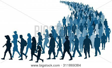 Crowd Of People Waiting In Line Vector Silhouette Isolated On White Background