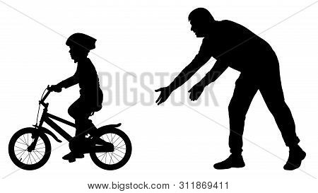 Father Teaches Baby To Ride Bicycle Silhouette. First Bike Ride Vector. Teaching A Child To Ride Bik